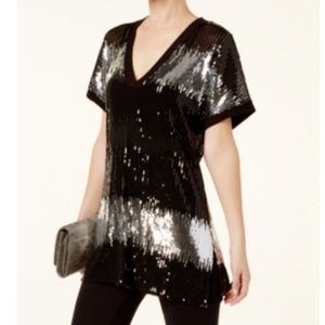 INC Womens Sequined Sheer Tunic Top Black